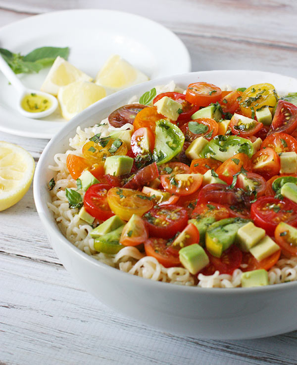 Avocado & Cherry Tomato Ramen Noodle Bowl with Lemon Basil Vinaigrette from SoupAddict.com