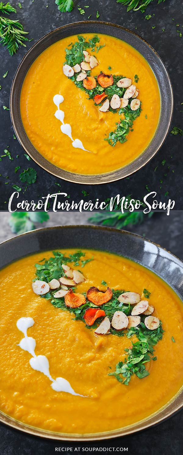 Carrot Turmeric Miso Soup - A quick and healthy vegan soup made with sweet winter carrots and the super spice turmeric, seasoned with fermented miso. So simple, so delicious - it's a vegetarian weeknight meal and perfect for Meatless Monday! Recipe at SoupAddict.com