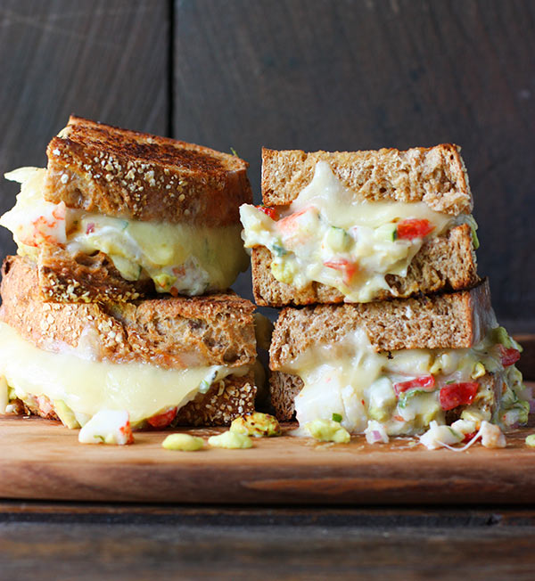 Decadent Crab Salad Grilled Cheese from SoupAddict.com