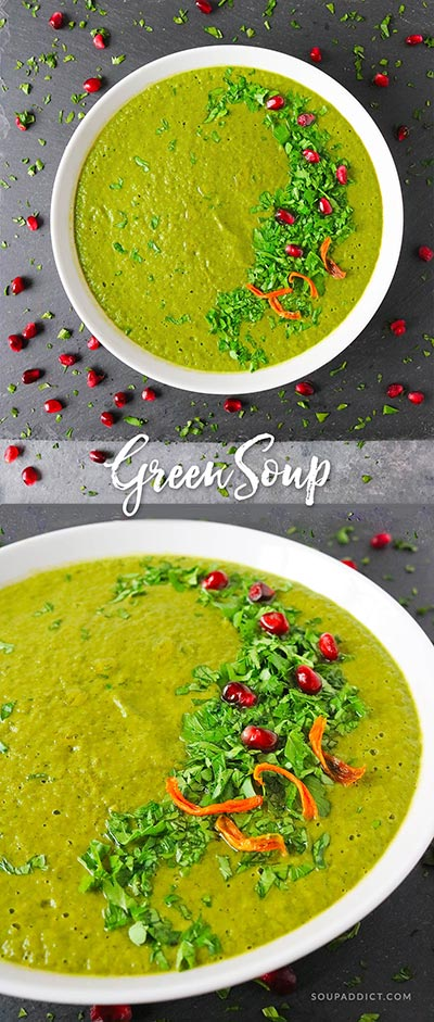 Not just a beautiful, vibrant color, but a healthy soup full of leafy greens and tasty vegetables. Get your healthy on with this super easy green soup! Recipe at SoupAddict.com