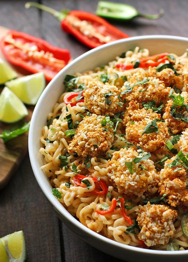 Oven Fried Shrimp and Thai Coconut Ramen Noodle Bowl from SoupAddict.com