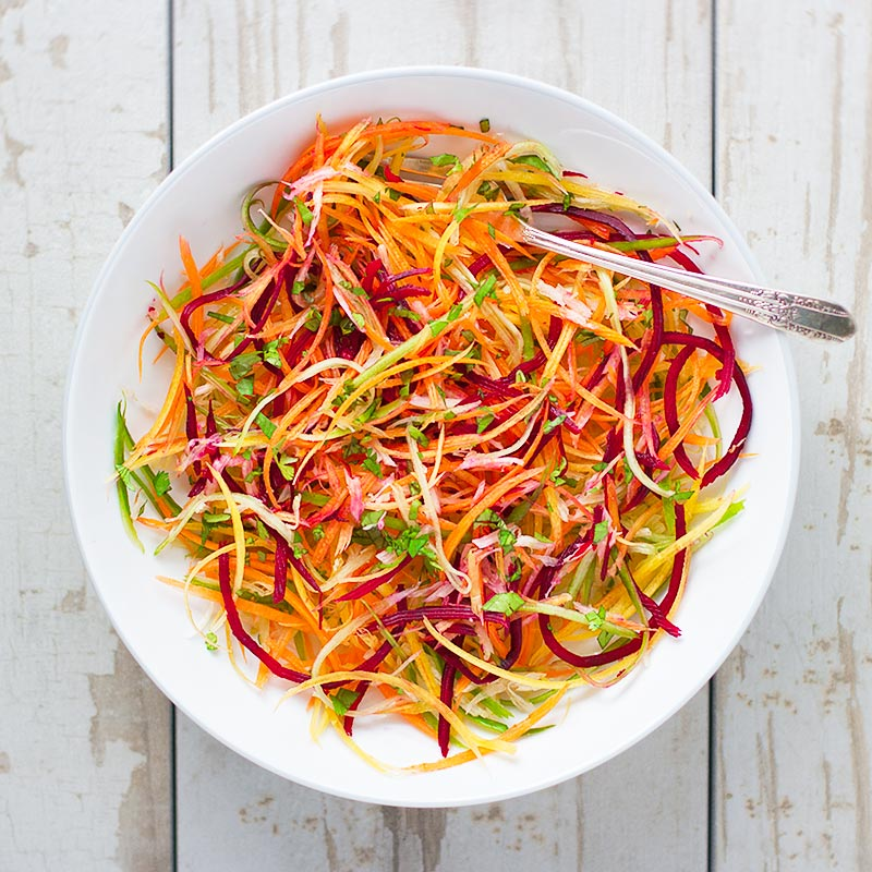 So easy to prepare, the vibrant colors of this ribbon veggie salad ...