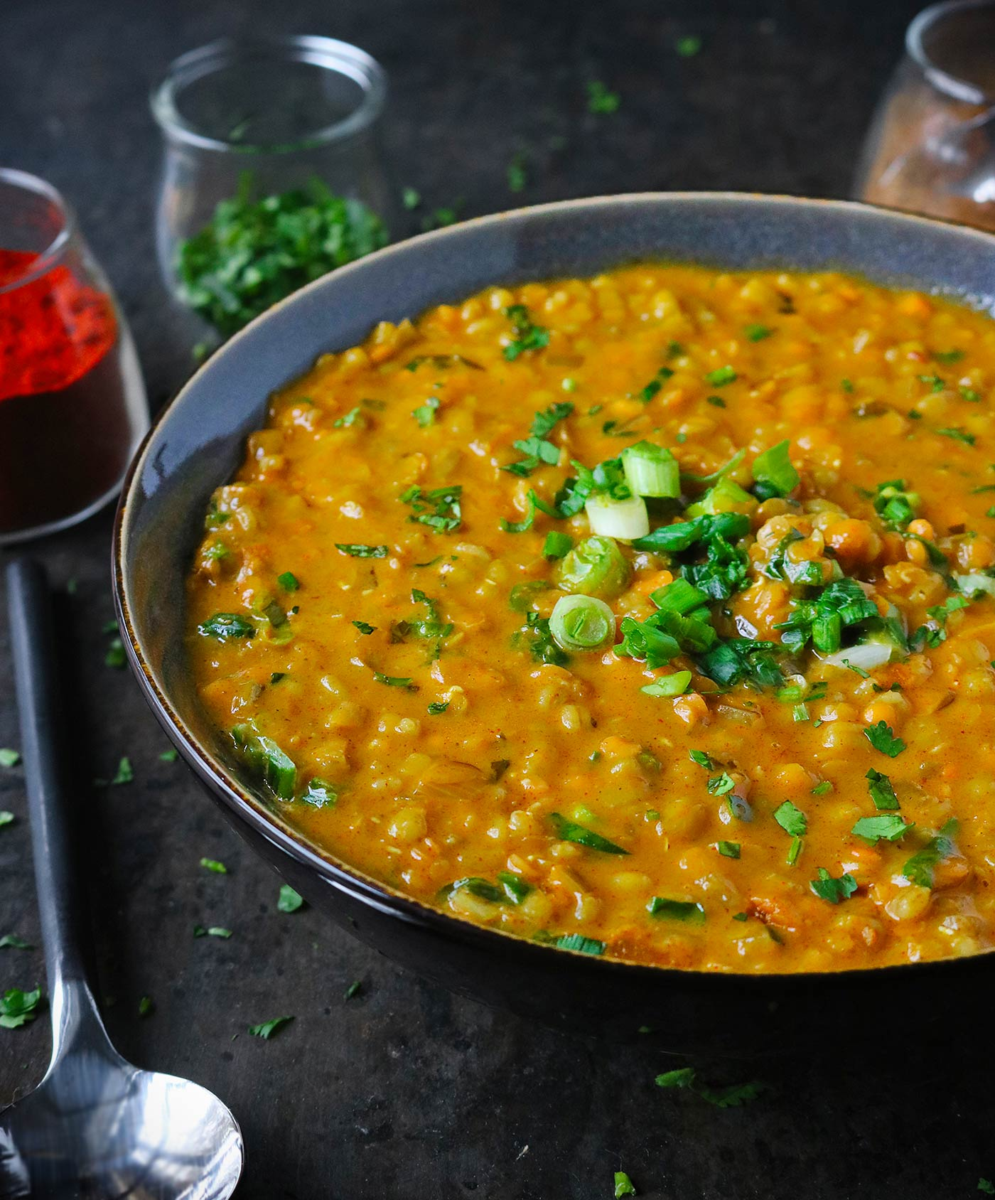 Red Lentil Masala Soup with Barley