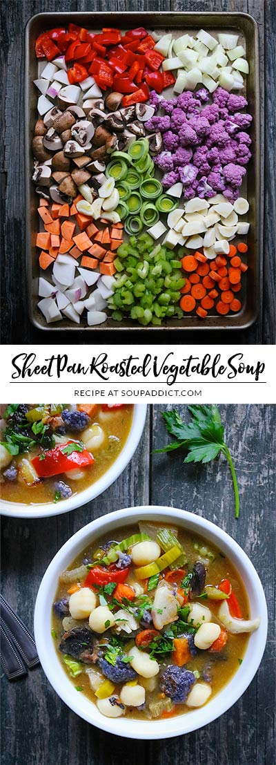 So easy to prepare, sheet pan roasted vegetable soup with gnocchi and pesto adds a healthy dose of vegetables to your day! Roasting the vegetables caramelizes them with sweet savoriness, and makes the soup extra special! Use a rainbow of vegetables - good for the body and beautiful in the bowl! Recipe at SoupAddict.com