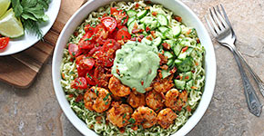 Spicy Shrimp and Saucy Guacamole Ramen Noodle Bowl | SoupAddict.com
