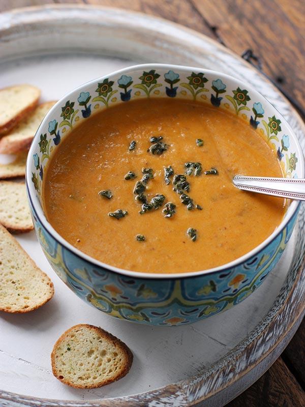 Sweet Potato Chorizo Boursin Soup from @SoupAddict