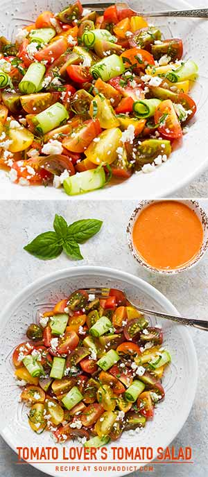 Tomato Lover's Tomato Salad with Smoky Tomato Dressing - Recipe at SoupAddict.com | vegetarian